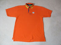 VINTAGE Tommy Hilfiger Polo Shirt Adult Large Orange Blue Spell Out Rugby 90s *