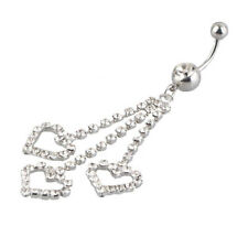 Three Chain Crystal Heart Dangle Navel Belly Button Ring Piercing Jewelry P O8A2