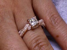 1.50 Ct. Natural Princess Cut Twisted Pave Diamond Engagement Ring
