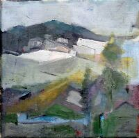 Unknown Unidentified Artist: Village in Mountains Landscape / Post-War Modernism