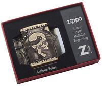Zippo Feuerzeug Skull Multicut Armor Case Antique Brass Katalog 2017 60002848