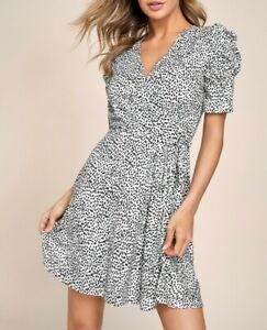 Lipsy White Spot Print Puff Sleeve Wrap Mini Dress Size 18 BNWT RRP £38 Party