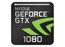 "nVidia GeForce GTX 1080 1""x1"" Chrome Domed Case Badge / Sticker Logo"