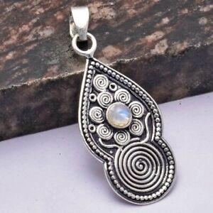 """Rainbow Moonstone Ethnic Handmade Pendant Jewelry 1.92"""" AP 31543"""