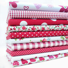 REMNANTS - 10 FAT QUARTERS RED AND WHITE  BUNDLE POLY COTTON PATCHWORK