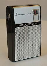 VINTAGE BLACK SILVER REALTONE 6 TRANSISTOR RADIO TR-1628 LEATHER CASE 1950s OLD