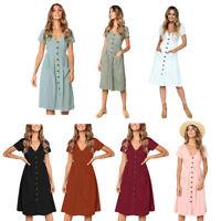 Women's Fashion Summer Shirt Dress Ladies V-Neck Pockets Button Dress Shor Q4C3