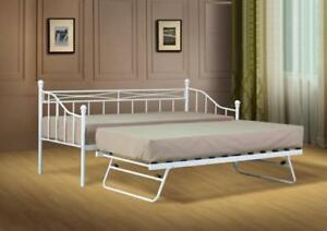 Small Single Metal Day Bed White or Black Guest Bed with Trundle Mattress Option