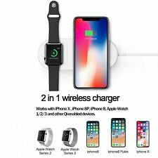 Apple Watch & Phone Wireless Charger 2-in-1 Qi Charging Pad for iPhone Samsung
