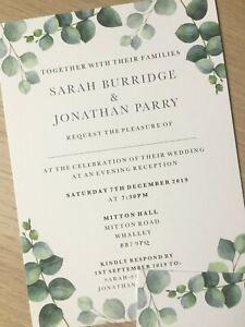 Flat | Print | Foliage | Botanical | Eucalyptus | Evening | Wedding Invite