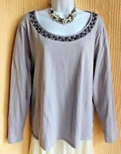 COLDWATER CREEK Dove Dray Cotton Knit Top XL 16 Pearls Beaded Scoop Neck Casual