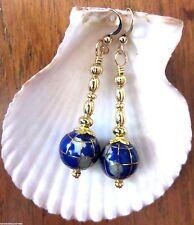 Long Gold Beaded Blue Lapis Globe World Traveler Earrings USA Handmade Gift wBag