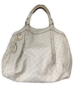 Gucci Sukey Guccissima Off White Leather Logo Embossed Handbag Tote - X Large