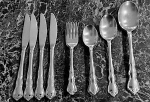 15 Pcs Wallace Discretion Stainless Flatware, Teaspoons, Spoons, Forks, Knives
