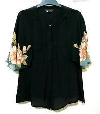 Silk Top With Floral Trim Flutter Sleeve