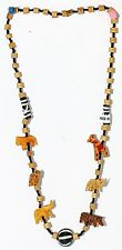 Wooden Animal Necklace Africa Handcrafted in Kenya with ceramic bead Wood animal