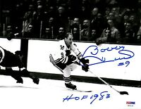 "PSA/DNA BOBBY HULL ""HOF 1983"" AUTOGRAPHED-SIGNED BLACKHAWKS 8x10 PHOTO U83135"