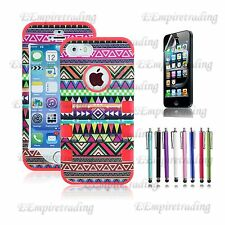 Colorful Heavy Duty Hybrid Rugged Hard Case Cover For iPhone 5 5S + Film +Stylus