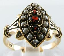 BEAUTIFUL VICTORIAN INSP 9K 9CT GARNET & SEED PEARL RING FREE RESIZE