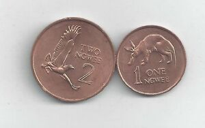 2 COINS from ZAMBIA - 1 NGWEE w/ AARDVARK & 2 NGWEE w/ EAGLE (BOTH 1983).