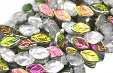 25 Crystal Vitral Czech Glass Leaf Beads Side Drilled 12MM