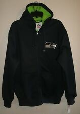 NWT Sz Large Seattle Seahawks Lined Ribbed Zip Up Hoodie ~MSRP $79 ~Official NFL