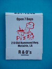 1970s Matches Matchbook: R & O's Pizza & Seafood Restaurant, Metairie, LOUISIANA