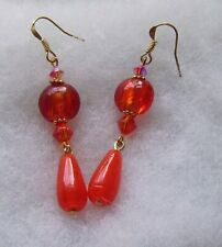 ORANGE FOILED GLASS EARRINGS/FIRE OPAL CRYSTALS