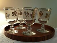 VINTAGE LIBBEY GOLDEN FOLIAGE WATER GOBLETS - SET OF FOUR