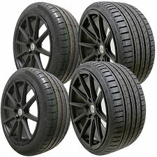 "4 18"" Full Black Alloy Wheels Tyres 5x120 Bmw E46 3 Series 8"" 9"" Rear Staggered"