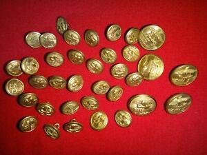 Lote De 36 Militar Dorado Metal Botones Removidas De Camisa
