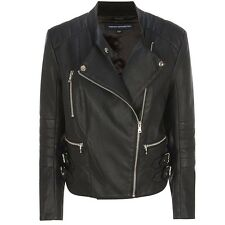 French Connection Decade Faux Leather Biker Jacket BNWT Womens Designer Clothing