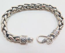 """New Pure S925 Silver Bracelet Man's 9mm Round Wheat Style Link Lucky Chain 8.2""""L"""