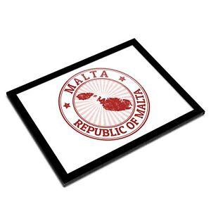 A3 Glass Frame - Republic of Malta Map Sign Art Gift #4713