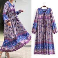 Vintage 70s Hippie BOHO Floral Bib Midi DRESS INDIA ETHNIC Festival Dresses New