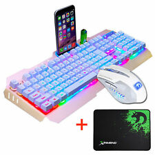 Manba Snake M398 Wired Usb Pro Gaming Keyboard And Mouse Set Gold White Rainbow