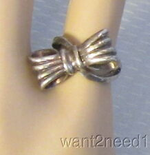 40s retro STERLING SILVER 3D RIBBON BOW RING sz 4 diagonal moderne