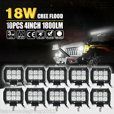 "10x 18W 4"" Flood Offroad Work LED Light Bar Driving DRL SUV 4WD Boat Truck Jeep"