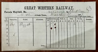 Great Western Railway Parcels Waybill, Nantwich 21 march 1877