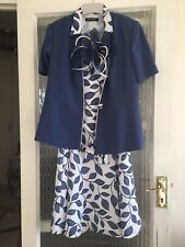 JACQUES VERT BLUE AND WHITE DRESS SUIT WITH FASCINATOR SIZE UK 14