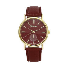 Brown Leather Unisex Watch With Gold Numerals & VELVET GIFT BAG