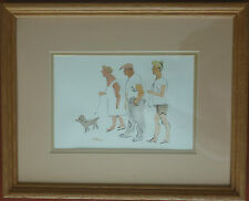 Original Painting Family Dog Walk Black Ink Watercolor Paper Signed D Woods