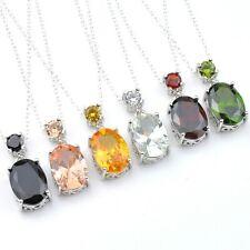 6pcs 1 Lot Morganite Peridot Garnet Topaz Citrine Gem Silver Pendant Necklace