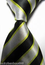 New Stripes Black Yellow Silver JACQUARD WOVEN 100% Silk Men's Tie Necktie