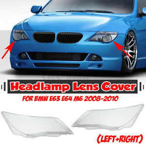 Clear Headlight Lens Cover Replacement Left & Right For BMW E63 E64 M6 2008-2010