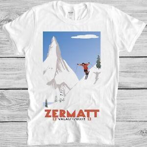 Swiss Alps Ski T Shirt Zermatt Valais Switzerland Poster Vintage Cool Tee M58