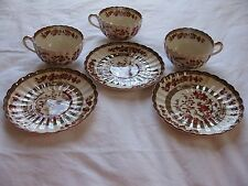 3 Copeland Spode England India Tree Cups and Saucers in Orange Rust