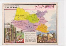 Chromo LION NOIR CARTE GEOGRAPHIQUE  LE SUD OUEST 2 Partie méridionale