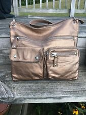 Fossil Bronze Leather Crossbody Shoulder Bag
