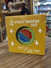 Vintage Original Farm Bureau Coop Co-Op 4 Piece Advertising Coaster Set In Box